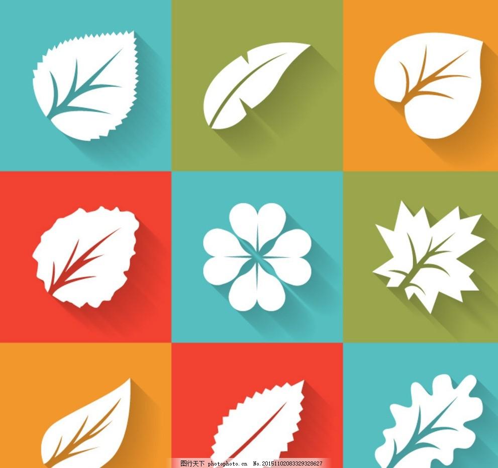精致叶子图标 树叶纹理 落叶 绿叶 梦幻光斑 背景 矢量树叶 秋天树叶