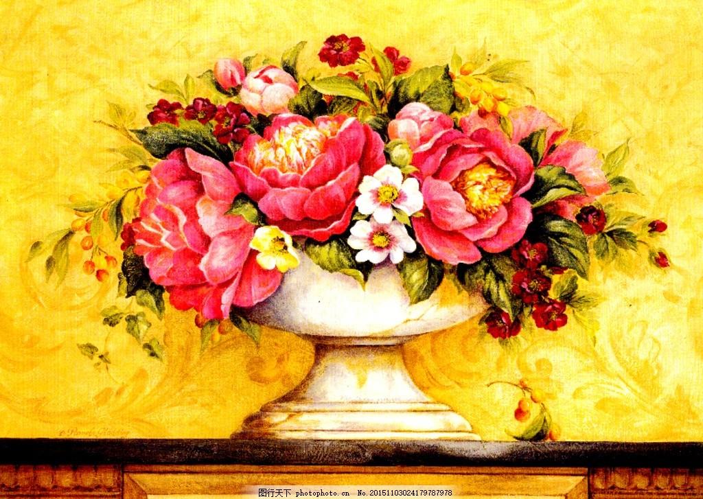 欧式花卉 怀旧 富贵 牡丹 花瓶 静物