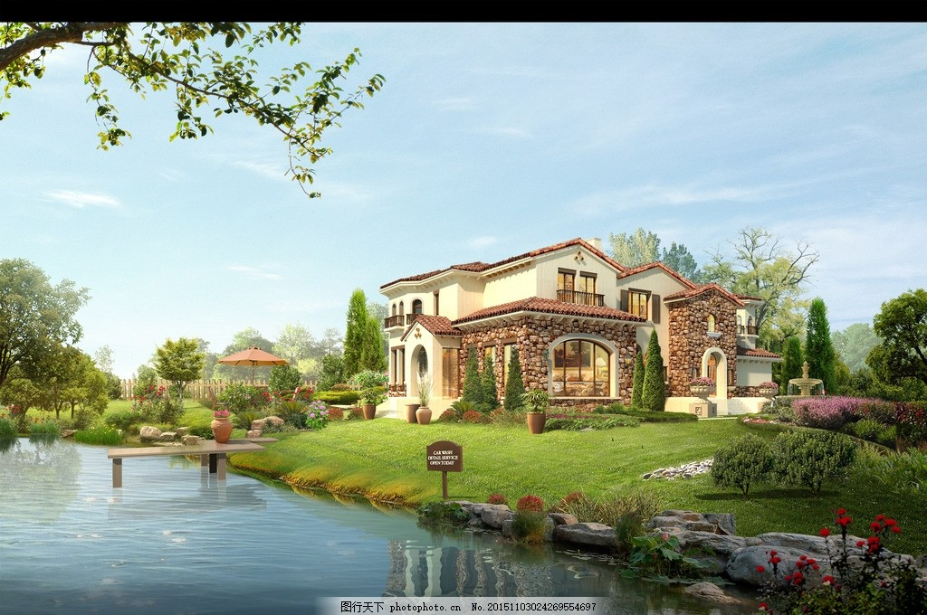 别墅外观效果图 欧式 别墅 水景 风景 自然 设计 自然景观 建筑园林