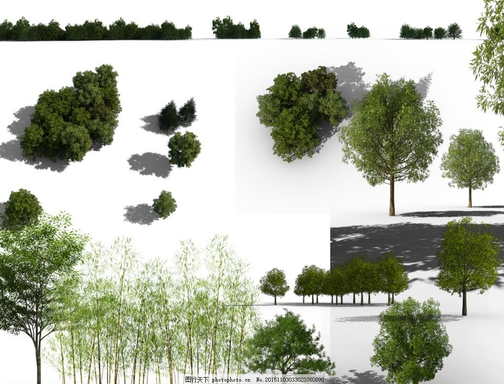 psd后期素材 后期植物 鸟瞰树 竹子 写实 远景树 ps后期植物 灌木