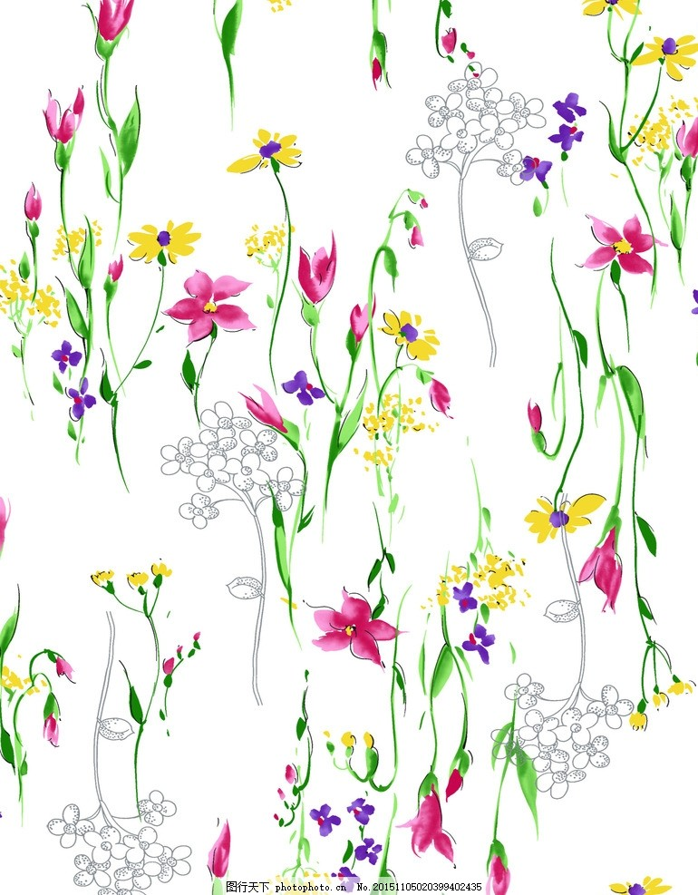 绿叶小花 日历花型 贺卡花型 桌面背景 植物花卉 布匹印花 水彩花丛
