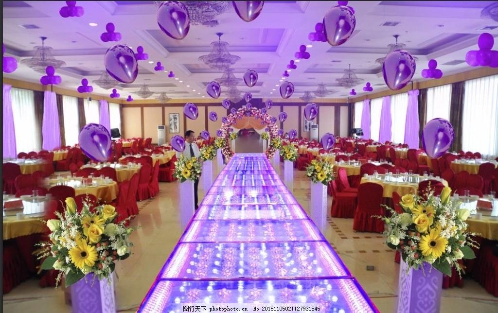 婚礼效果图 婚礼 浪漫 紫色 气球 花柱 玻璃t台 设计 3d设计 3d设计 3