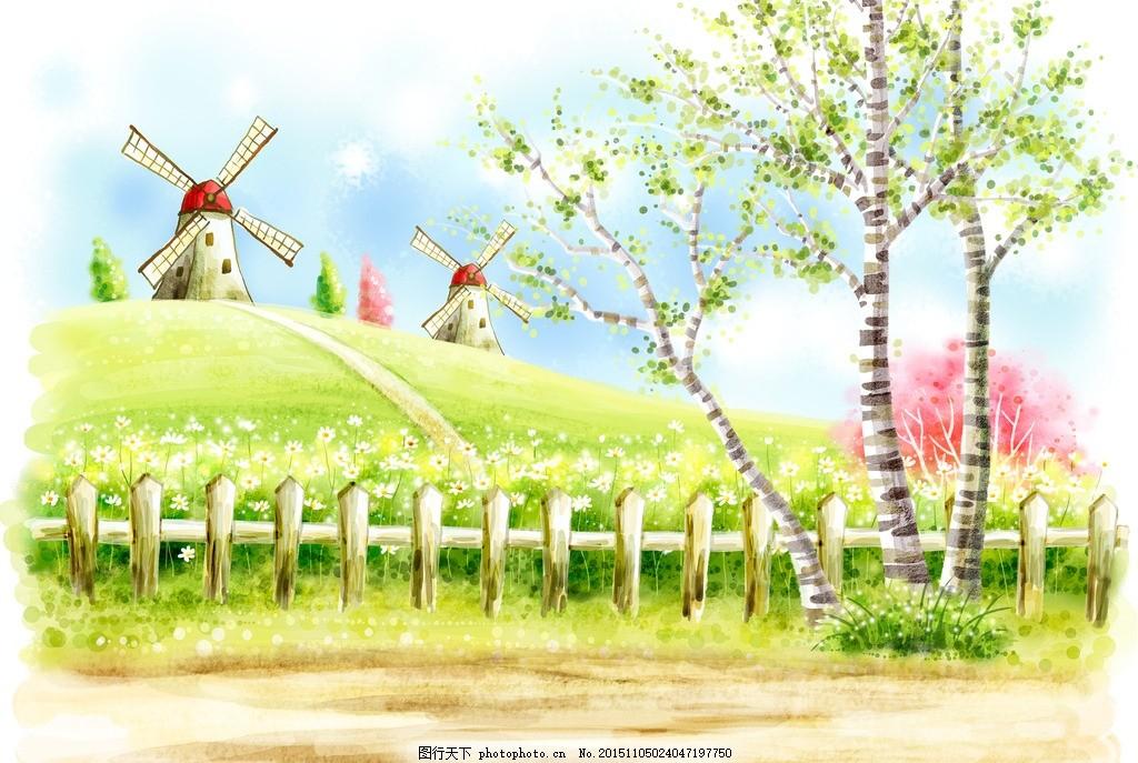 清新的春季风景 卡通 卡漫 春天 插画 季节 蓝天 白云