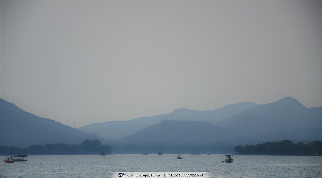 杭州西湖 美景 冷色调 高清 小舟 摄影 国内旅游