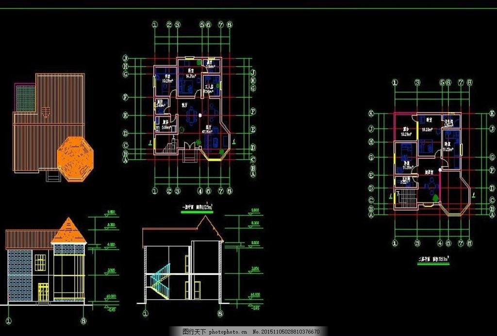 农村田园风格二层别墅设计图 新农村效果图 民房效果图 建筑图纸