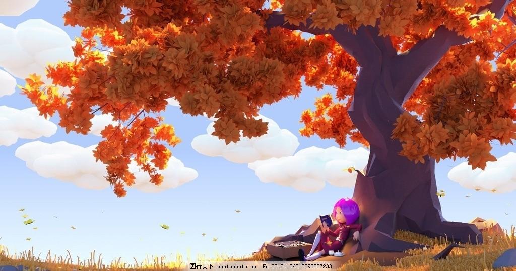 秋天 枫叶 大树 树叶 女孩 壁纸 手绘 图片素材 设计 动漫动画 动漫