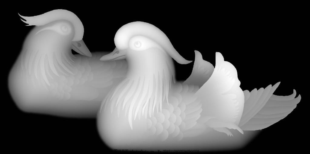 鸳鸯 浮雕 雕刻 灰度图 动物 鸟 设计 底纹边框 花边花纹 261dpi bmp