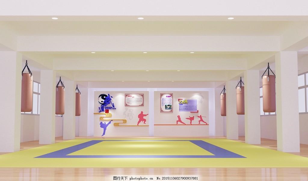 跆拳道教室 跆拳道 教室 沙包 拳击 练习 设计 环境设计 室内设计 72图片
