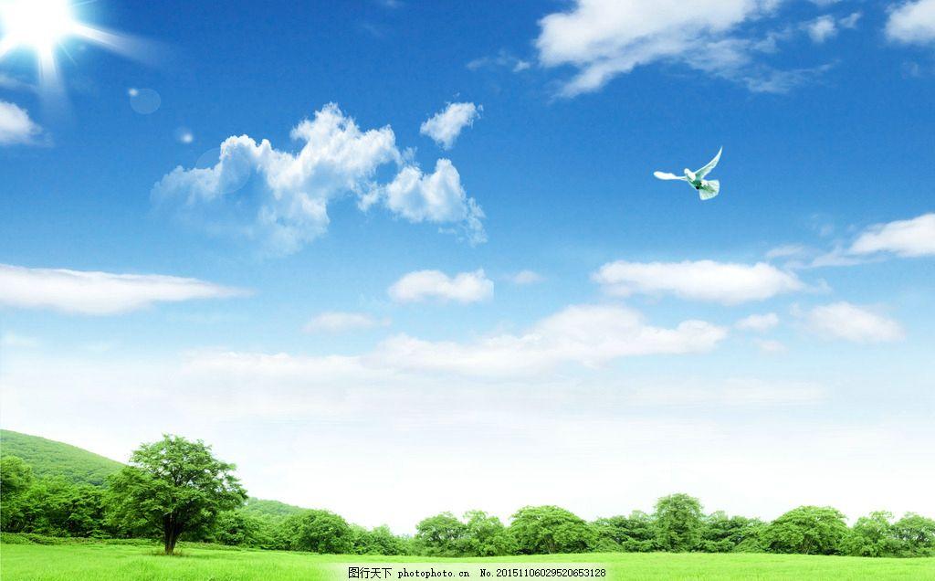 风景 蓝天白云 绿草 森林 背景 草地 草原 春天 大自然 底图