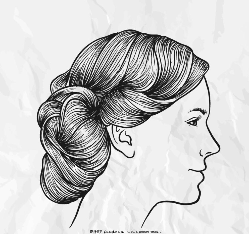 女人 侧面头像 纸张 褶皱 人物 女子 侧脸 平面素材