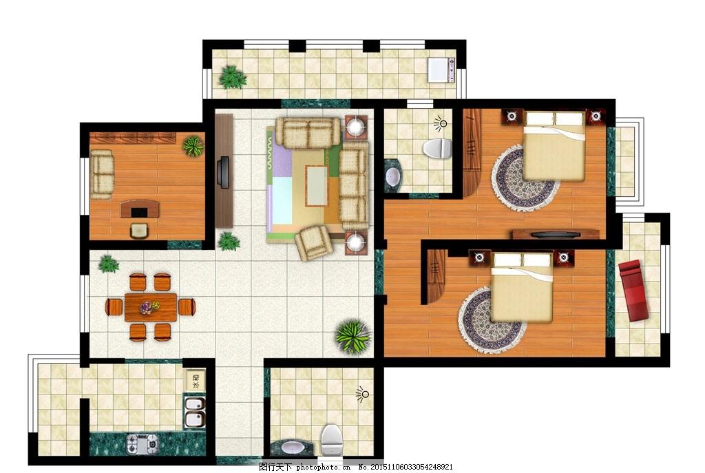 博雅144户型彩色平面图素材 彩图 平面 ps 素材 设计 家居 家具 布局
