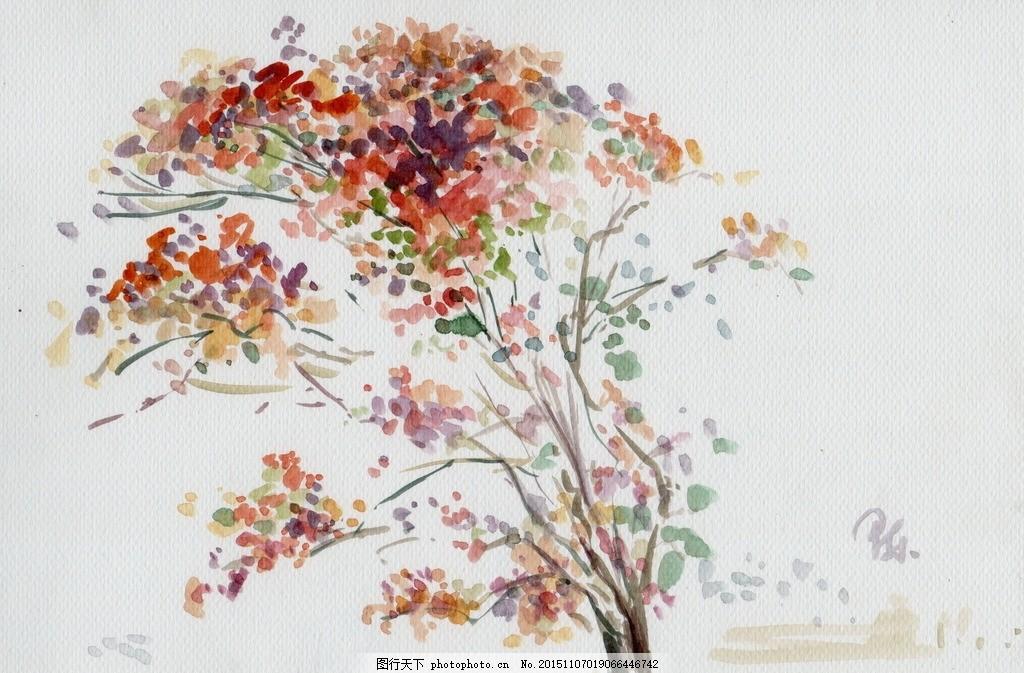 斑斓秋色 水彩画 树 秋天 树叶 陈一泓 写生