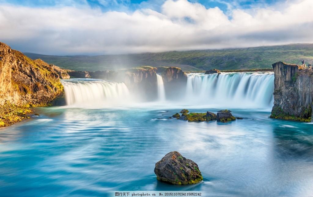 山水风景图 瀑布 流水 大石 蓝天 白云 摄影 旅游摄影
