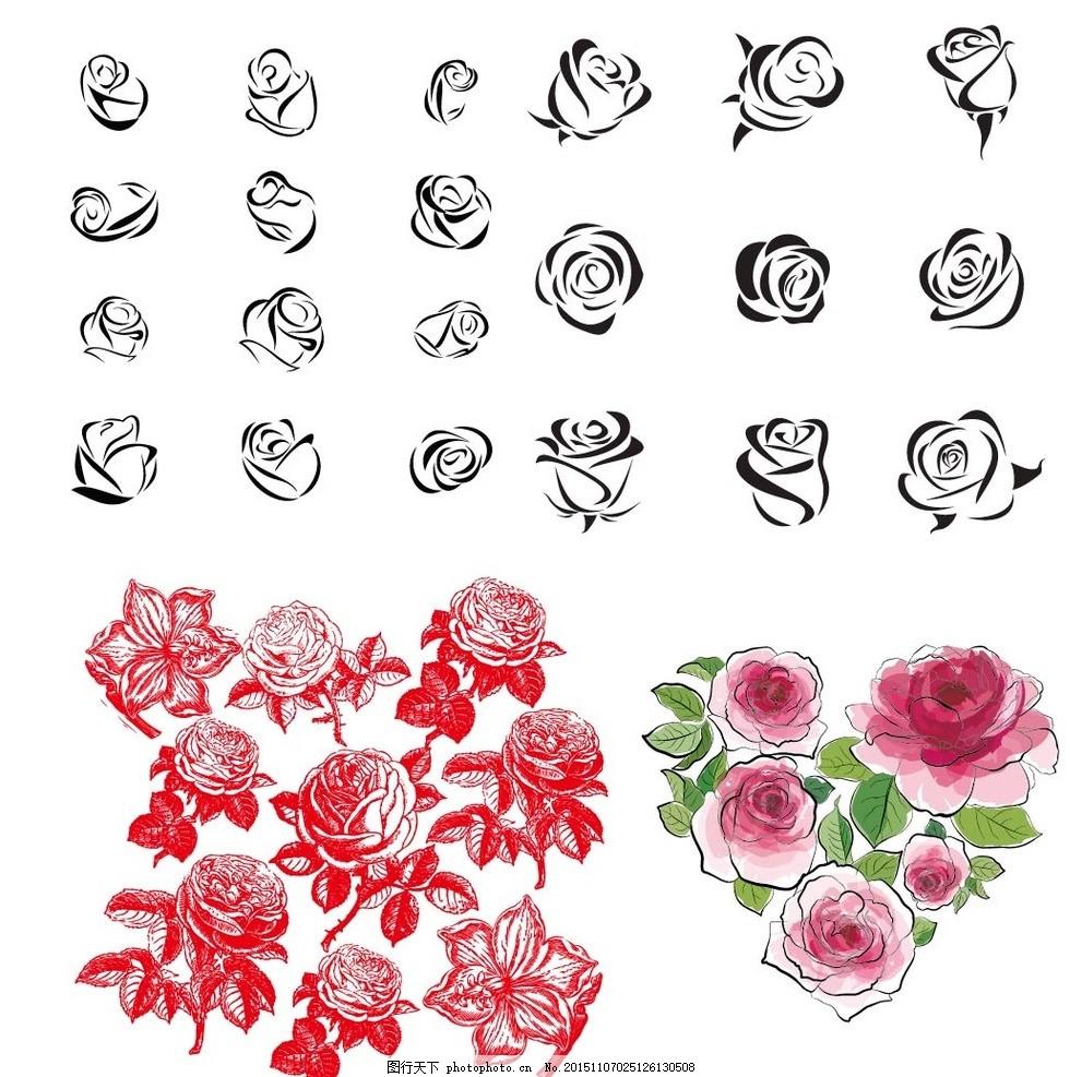 矢量手绘玫瑰花下载黑白彩色花朵