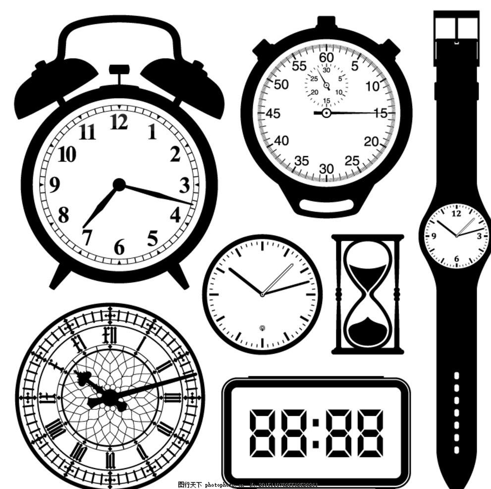 手绘黑白钟表矢量素材 闹钟 时钟 时间 手表 挂钟 电子表 沙漏