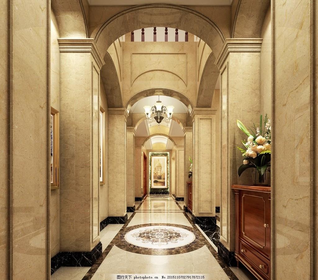 美式门厅过道 大理石 跳高门厅 大理石拼花