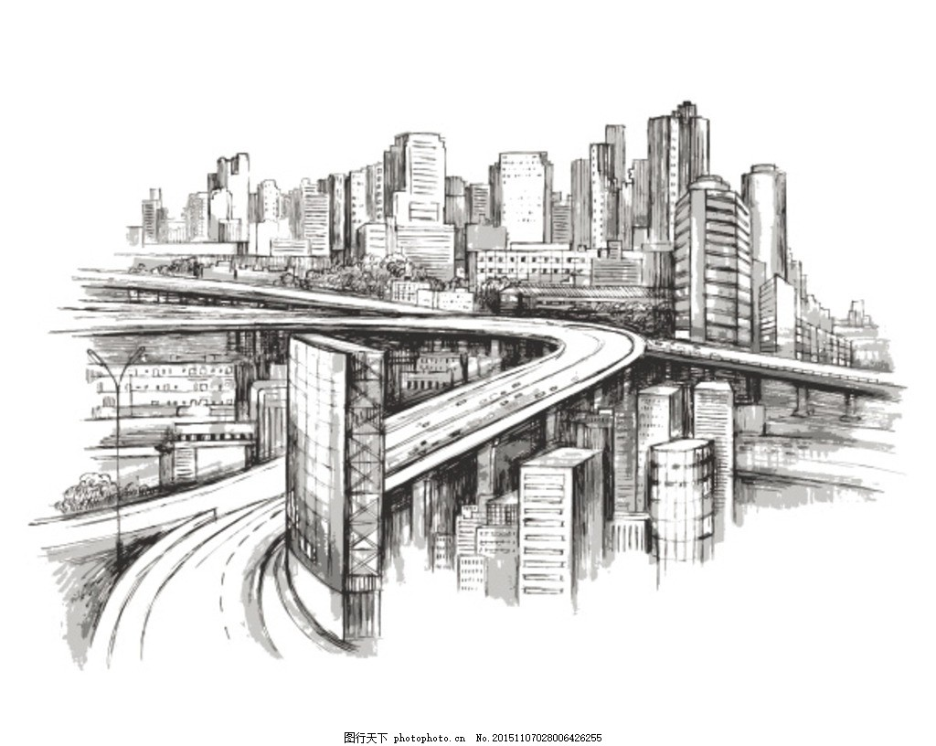 手绘城市景观矢量素材