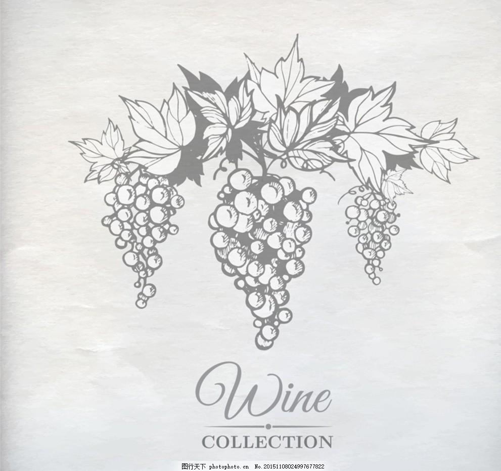 手绘葡萄藤矢量素材 手绘 葡萄藤 葡萄叶 葡萄 叶子 水果 食物 美食