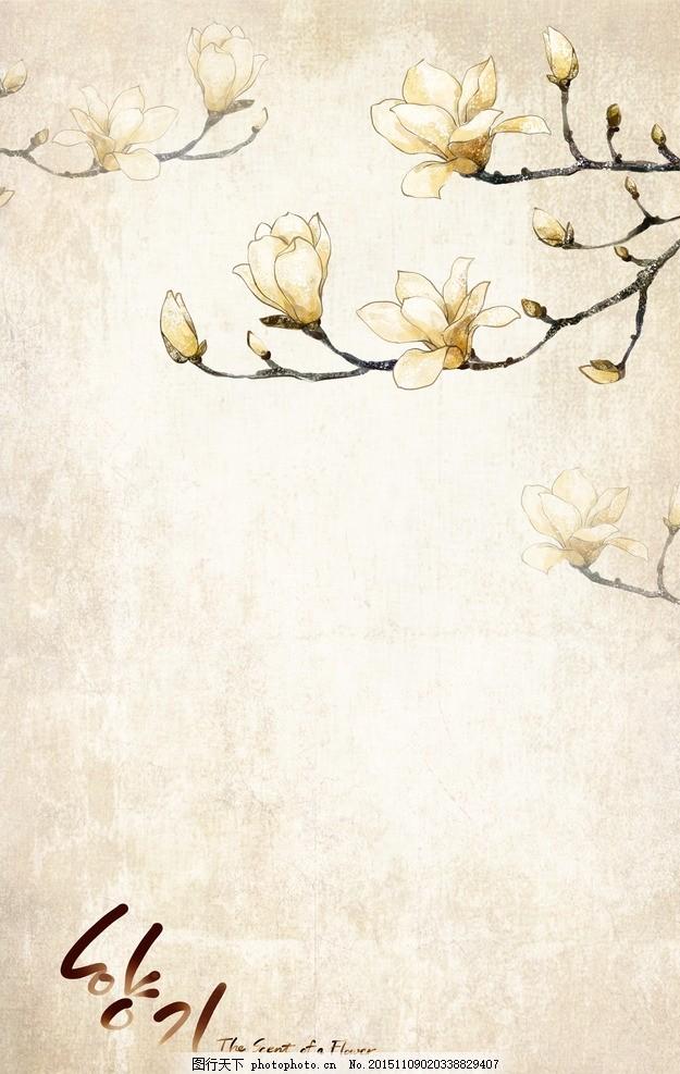 花朵底纹 玉兰花 写意 中国风 复古 怀旧 韩风 设计 底纹边框 花边
