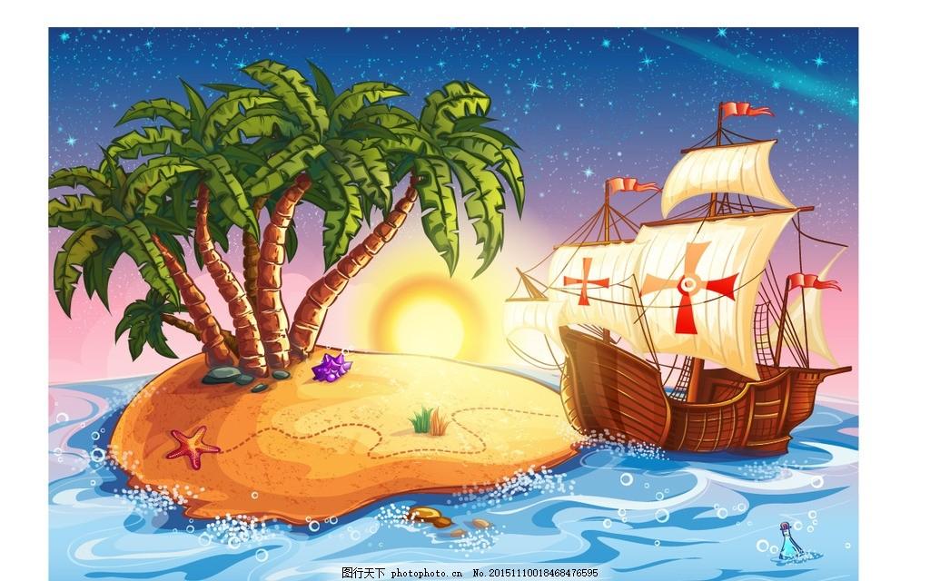 儿童油画风景 海边