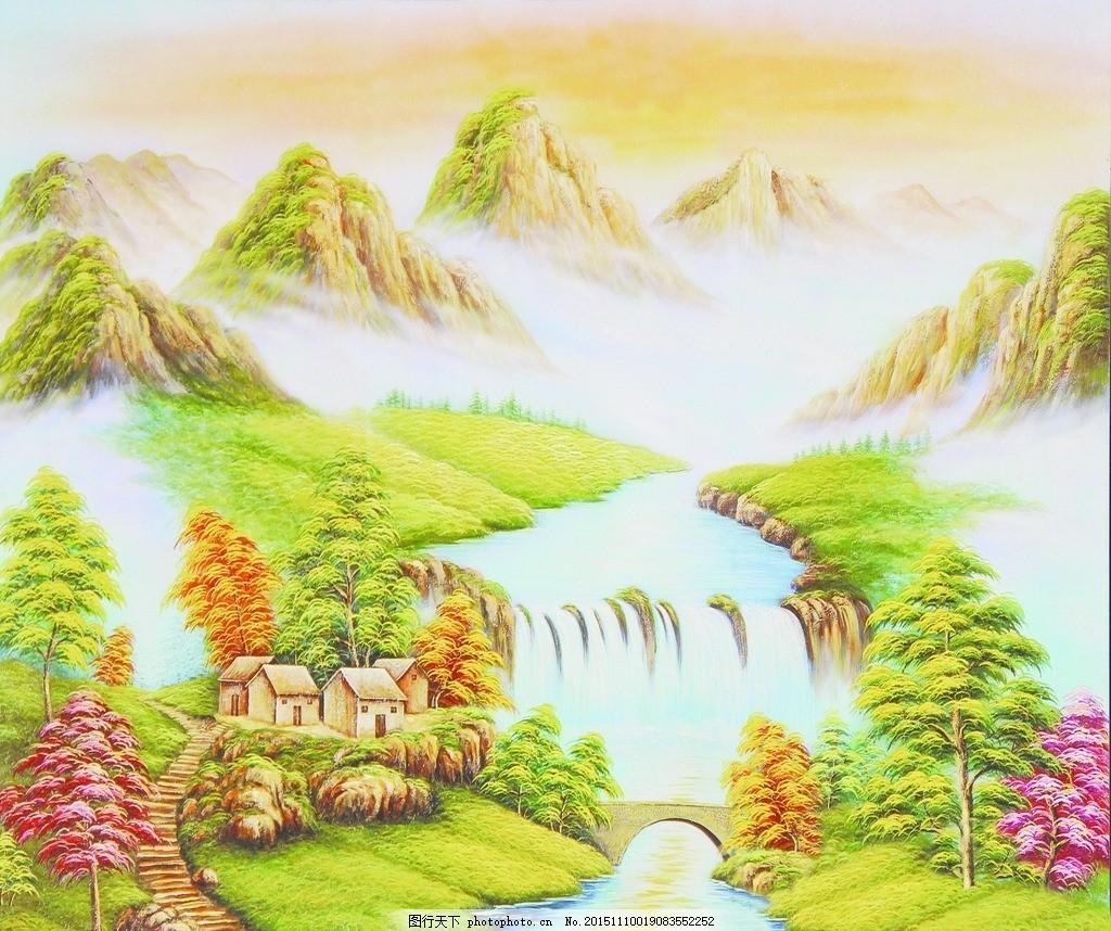 山水油画 山水 油画 树木 树 小桥 桥 草坪 山 水 玄关 电视背景 设计