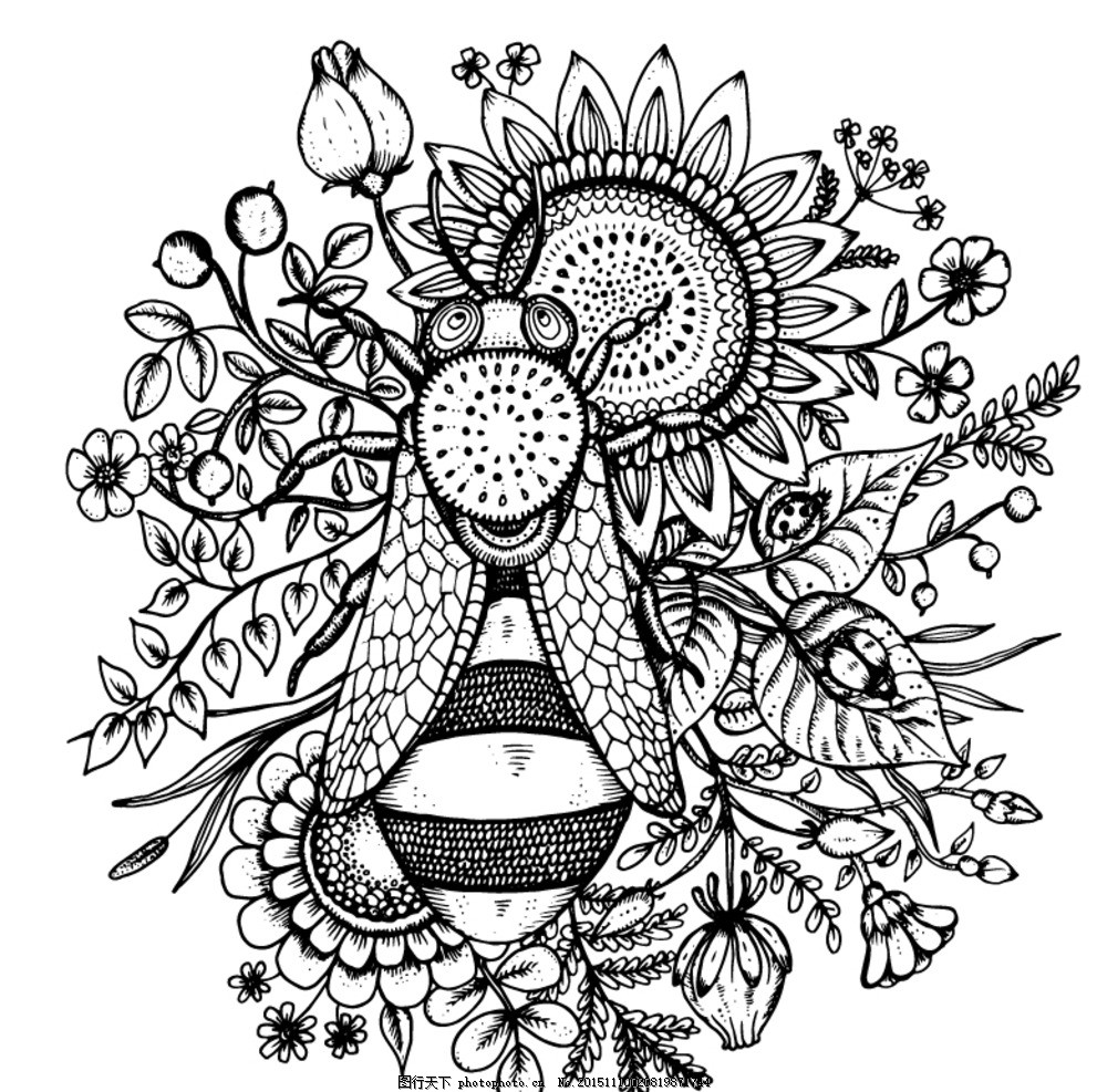 手绘蜜蜂和葵花 矢量素材 花卉 向日葵 黑白矢量 线条图 其他素材