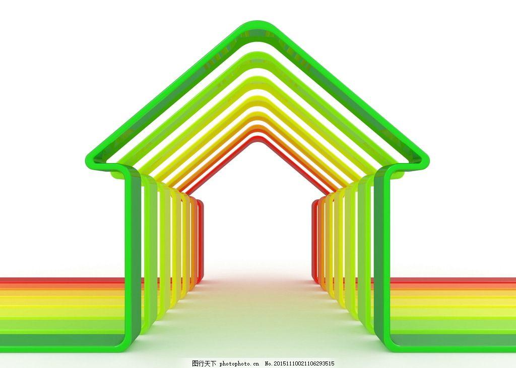房子 房 房屋 创意 能效表 能效 彩色 五颜六色 颜色 能级 3d 立体