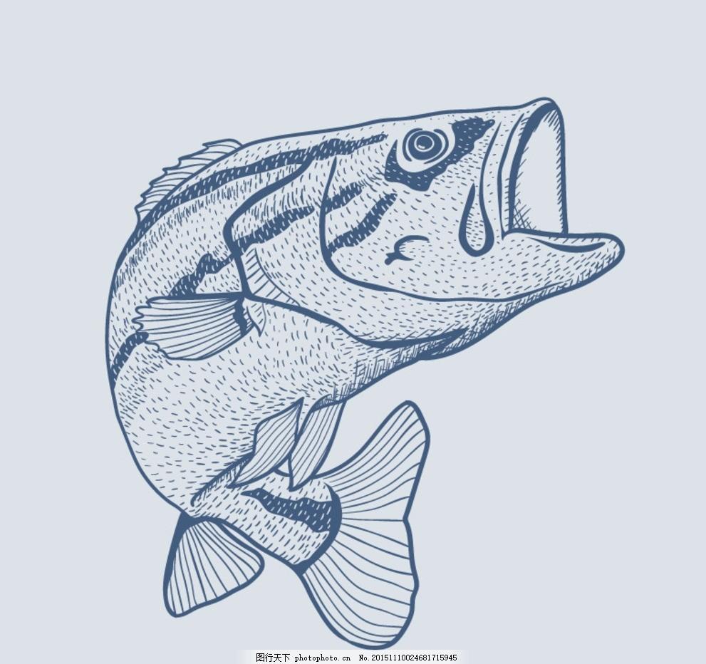 蓝色手绘鱼