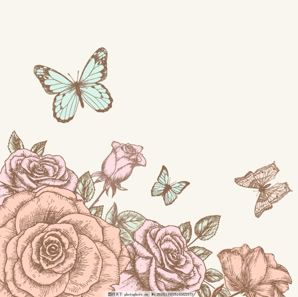 手绘玫瑰与蝴蝶设计矢量素材 手绘 玫瑰 蝴蝶 玫瑰花 花卉 花朵 植物