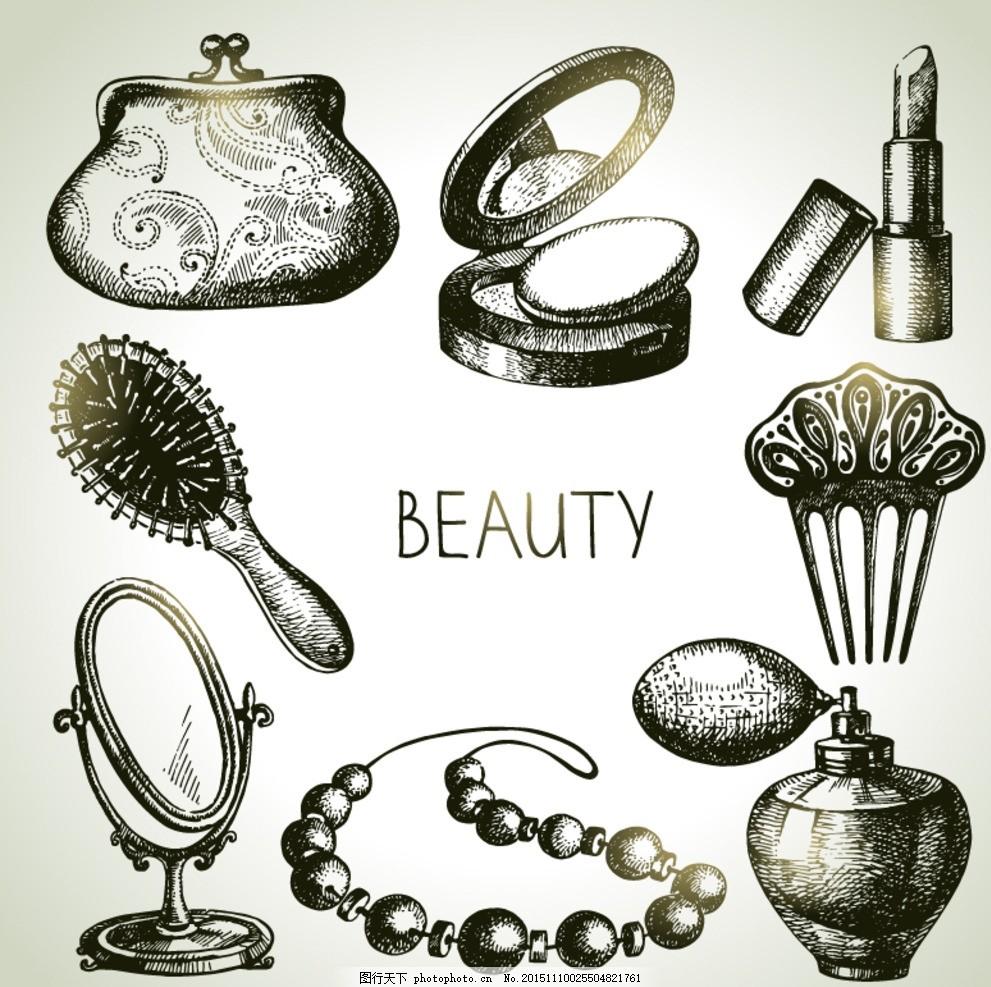 手绘化妆饰品矢量素材 手绘 化妆品 饰品 钱夹 粉扑 蜜粉 散粉 口红