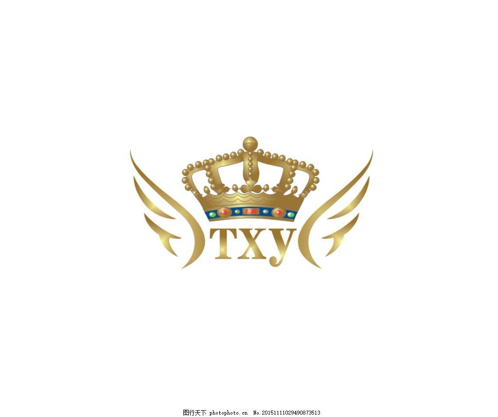 酒店标志 皇冠 翅膀 标志素材 金色 设计 广告设计 logo设计 cdr