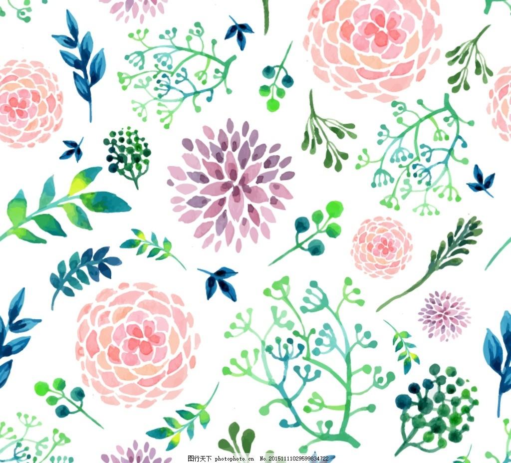 绣线花 水彩花卉和 叶子矢量 素材下载 花朵 植物 玫瑰 矢量图