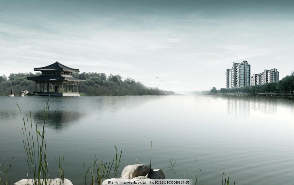 湖上风景 灰色 亭子 建筑 天空
