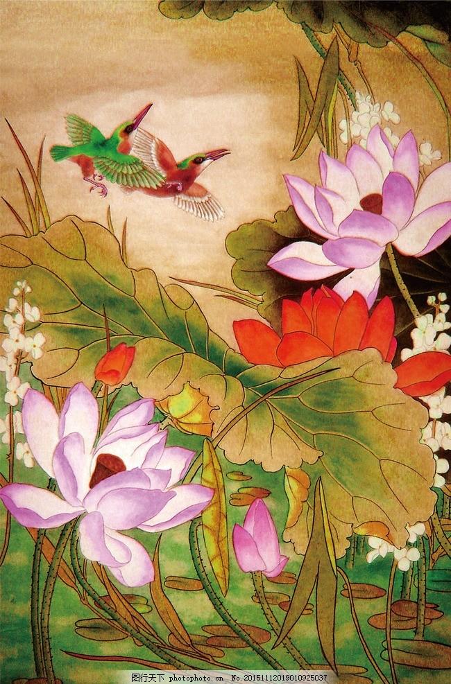 荷花塘 荷花 风景 背景 鸳鸯 设计 文化艺术 绘画书法 600dpi jpg