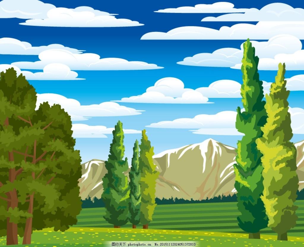 山谷丛林 山谷 丛林 树林 森林 树木 大树 植物 草地 云朵 白云 山峰