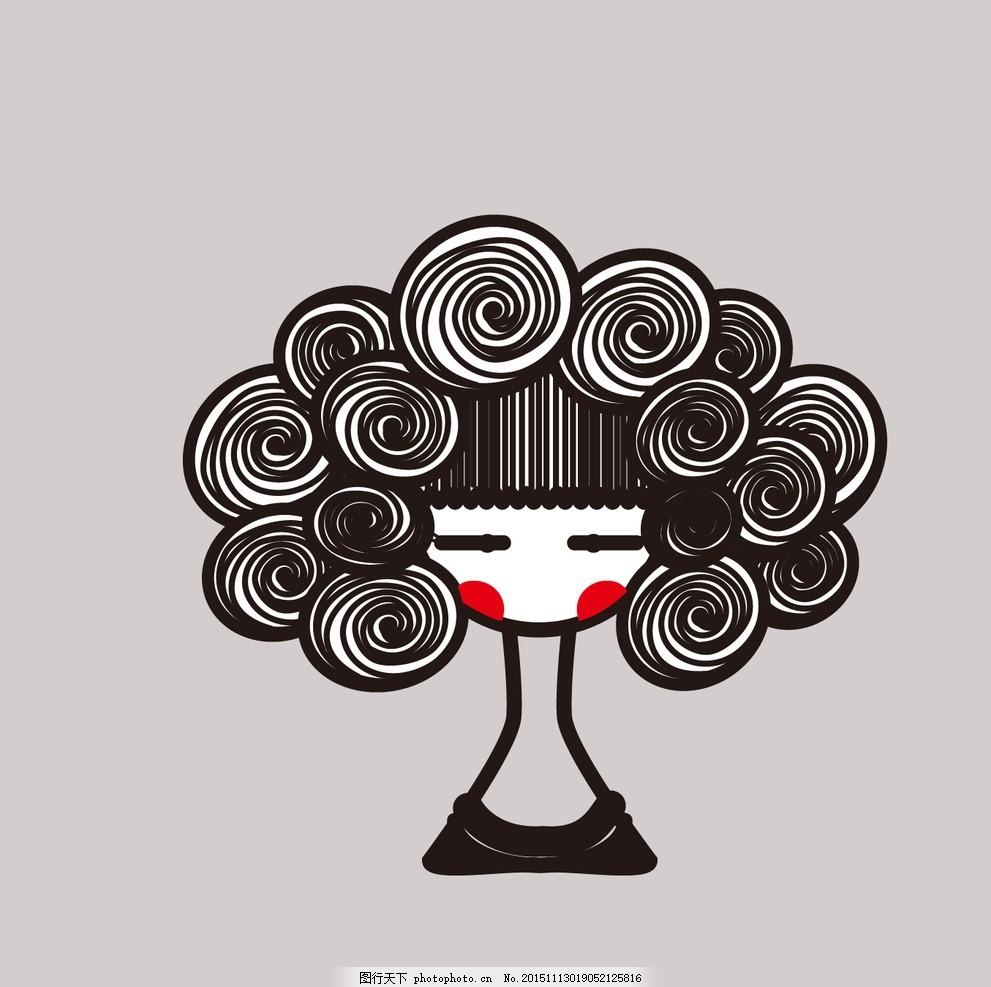 线条人物 线描 线条 装饰画 女孩 卷发 设计 文化艺术 绘画书法 300