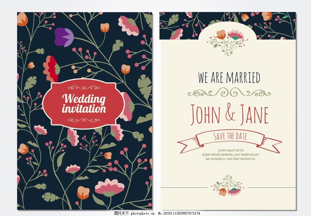 花卉请帖 花卉 请柬 喜帖 婚礼 菜单 设计 广告设计 名片卡片 ai