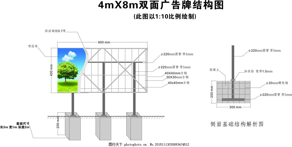 三立柱双面广告牌结构图 小型高炮 施工图 基础图 室外广告设计