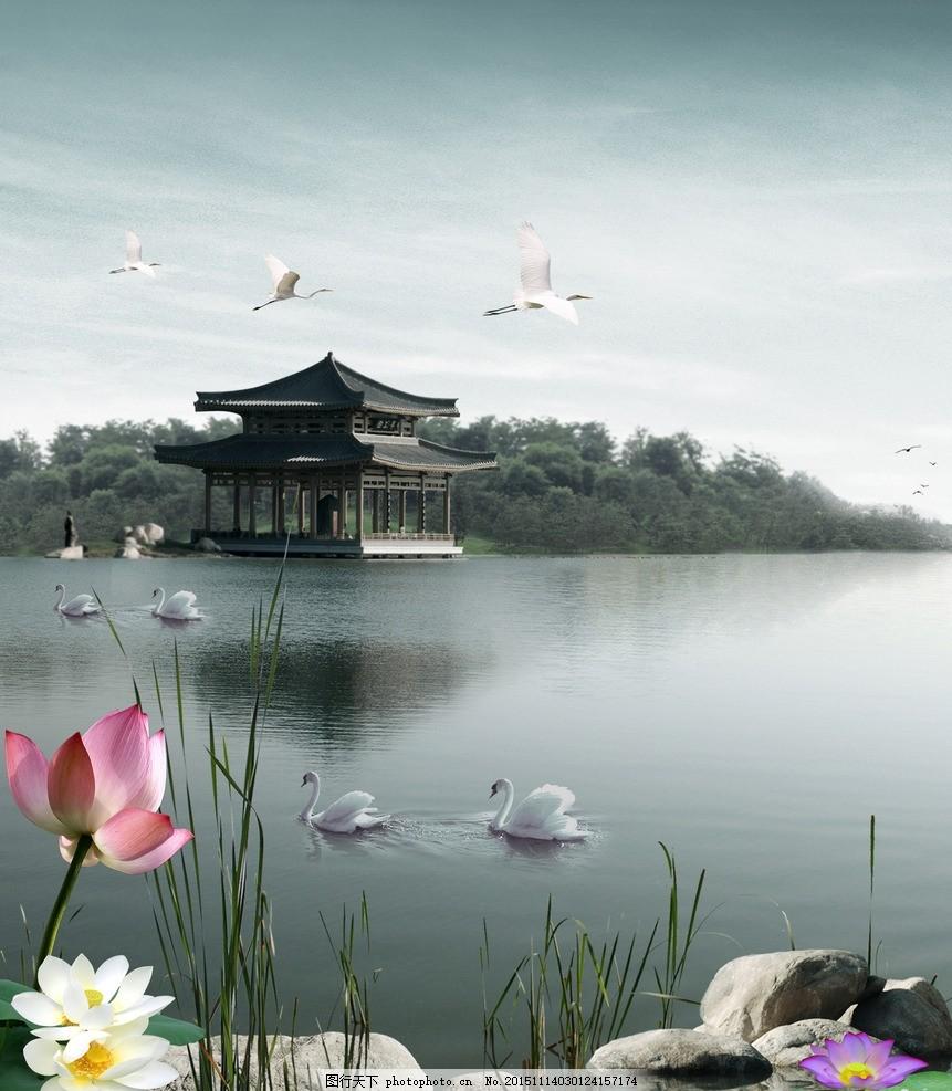 荷花 荷塘 白鶴 天鵝 湖 樓閣 風景 雅尚7期 設計 廣告設計 移門圖案
