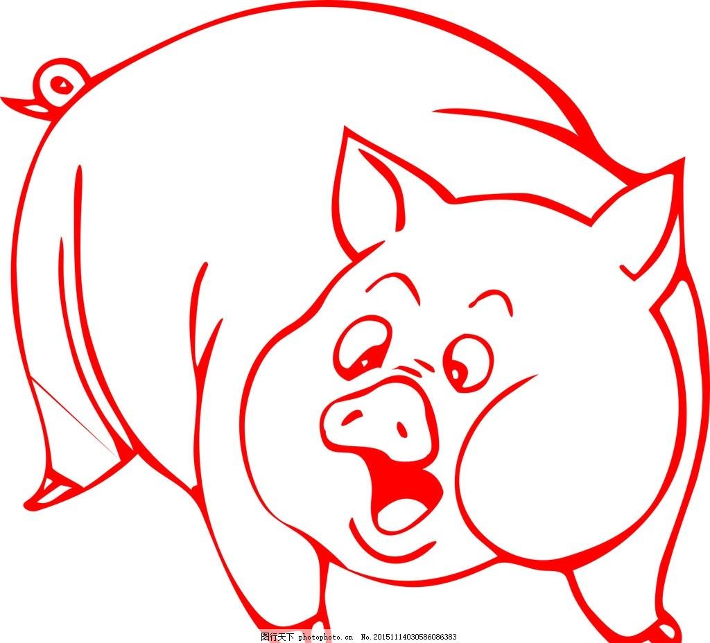卡通猪 可爱猪猪 十二属相之一 猎 线条 矢量素材