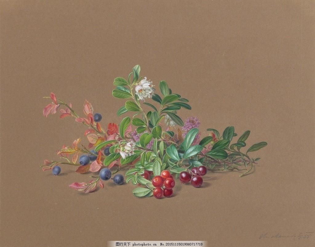 山果 山樱桃 草莓果 花朵 绿叶 19世纪水彩画 水彩画 设计 文化艺术