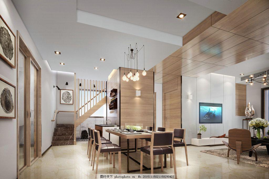 台式简约餐厅 极简主义 台湾设计风格 餐厅 楼梯间 设计 3d设计 3d