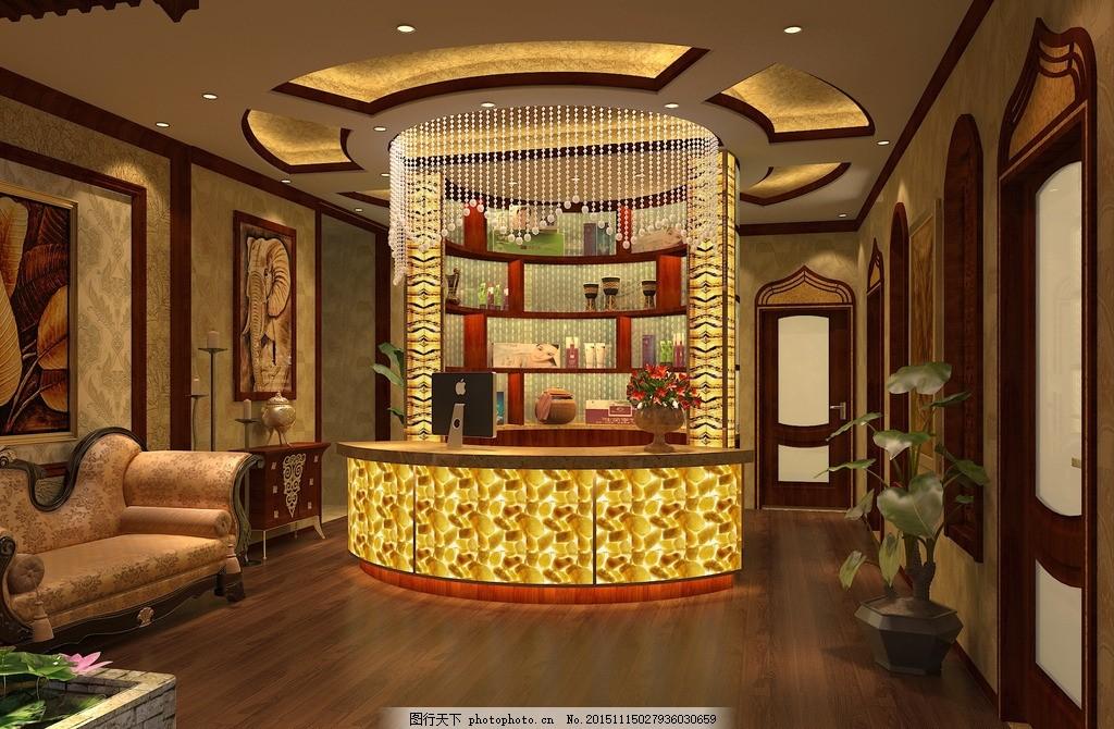 东南亚风格 美式 现代中式 美容院 水吧区 吧台 设计 环境设计 室内