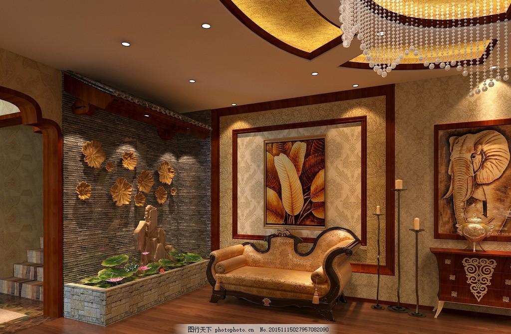 东南亚 美容院 休闲区 水景 装饰墙 景观 设计 环境设计 室内设计 72