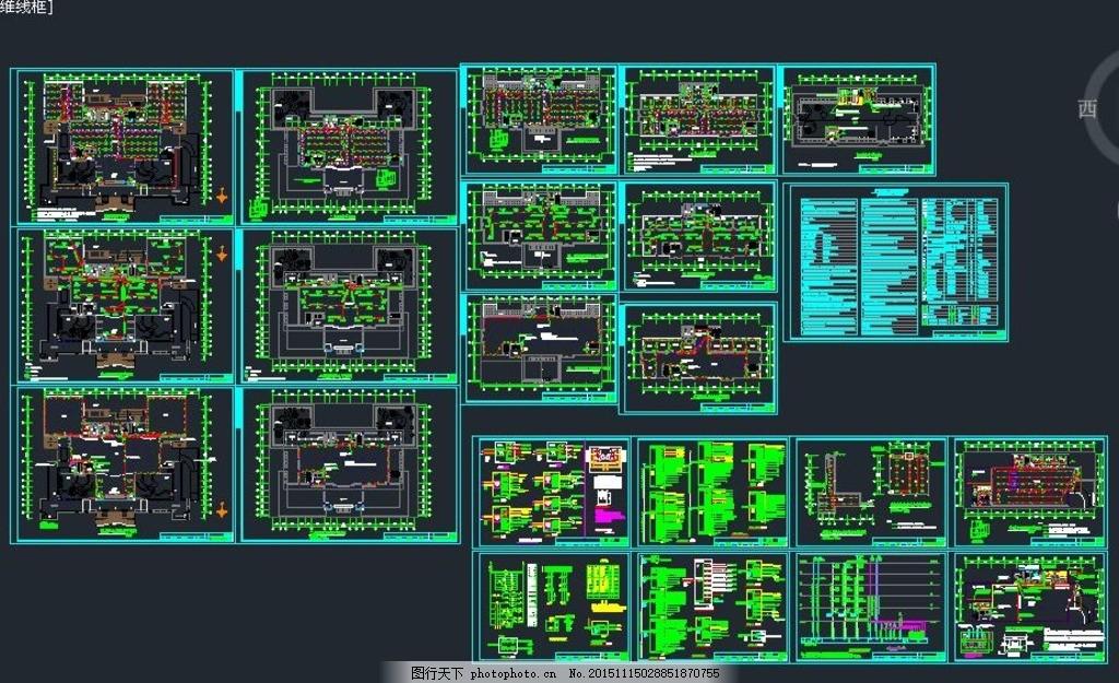 五层图书馆电气施工全套 照明系统 强电系统 弱电系统 消防系统
