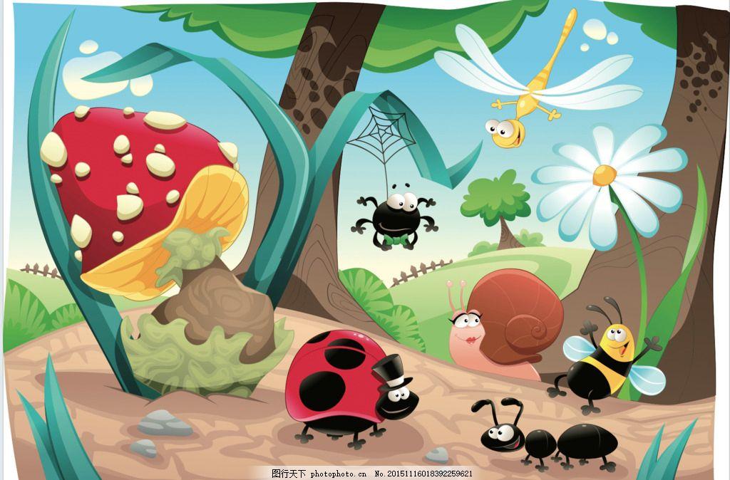 卡通 森林 卡通动物 蘑菇 蜜蜂 蓝天 可爱 设计 动漫动画 动漫人物