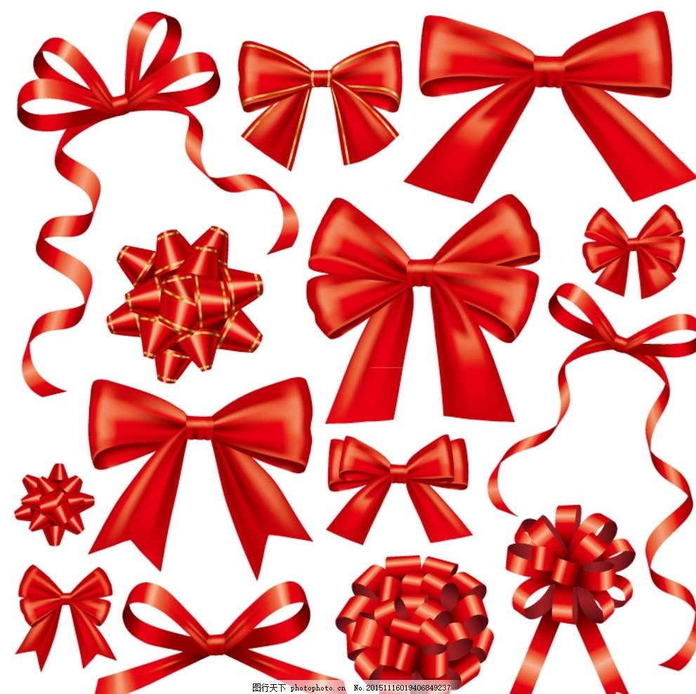 红色蝴蝶结 红色丝带 红丝带 中国红 丝带花 装饰 包装 节日
