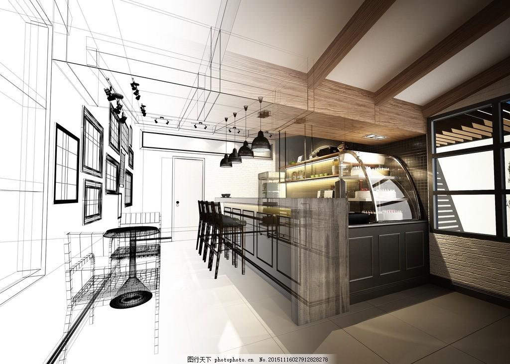 咖啡厅效果图 咖啡店效果图 室内效果图 渲染图 家居        房间