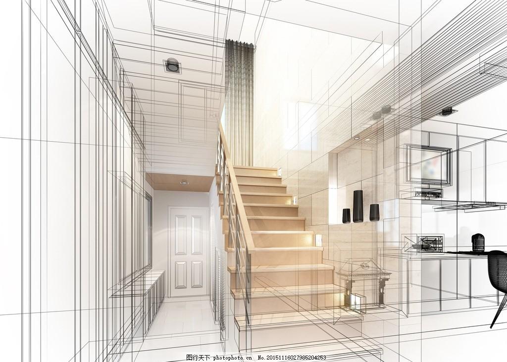 渲染图 家居        房间 草图 轮廓图 线描图 设计 环境设计 室内
