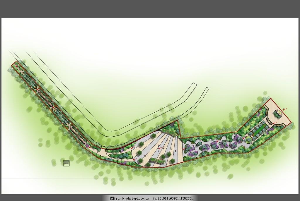 某带状公园景观平面 彩色平面图 公园设计
